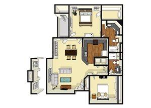 Two Bedroom Two Bathroom Floor Plan 1,106 Square Feet