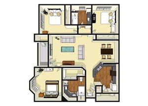 Three Bedroom Two Bedroom Floor Plan 1,323 Square Feet