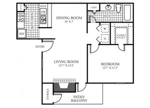 One Bedroom One Bathroom Floor Plan 718 Square Feet