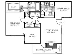 One Bedroom One Bathroom Floor Plan 876 Square Feet