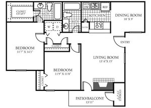 Two Bedroom Two Bathroom Floor Plan 1,040 Square Feet