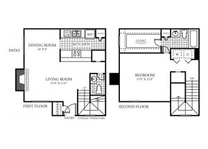 One Bedroom One and a Half Bathroom Floor Plan 1,072 Square Feet