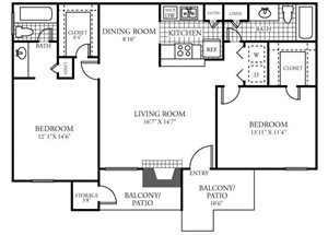 Two Bedroom Two Bathroom Floor Plan 1,042 Square Feet