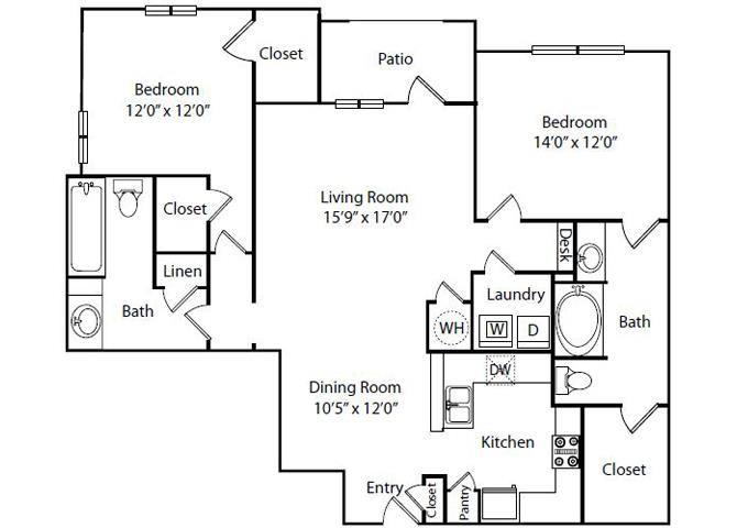 Bridgeport Floor Plan2 Bedroom 2 Bath