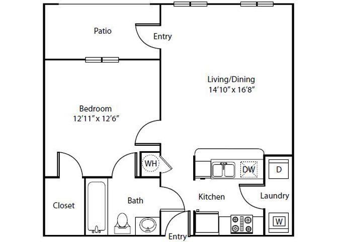 Dahlia Floor Plan 1 Bedroom 1 Bath