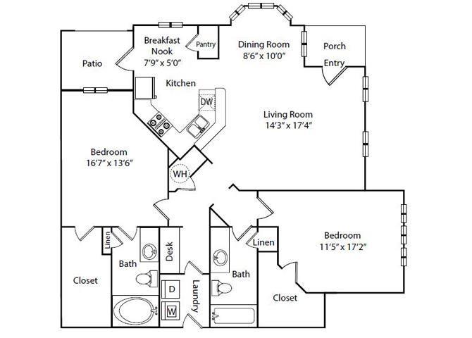 Gardenia Floor Plan2 Bedroom 2 Bath