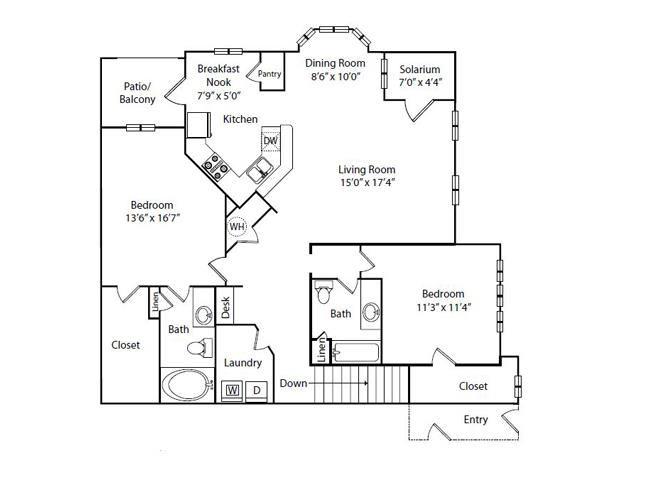 Jasmine Floor Plan 2 Bedroom 2 Bath