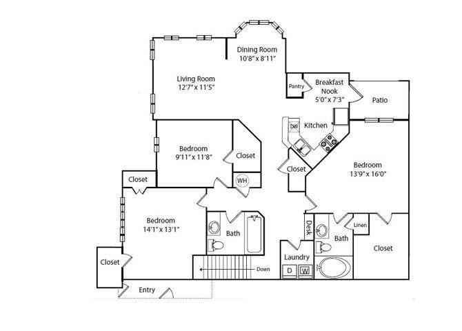 Magnolia Floor Plan 3 Bedroom 2 Bath