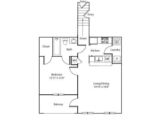 Orchid Floor Plan 1 Bedroom 1 Bath