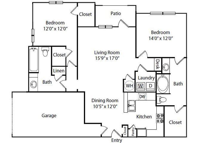 Pacifica Floor Plan2 Bedroom 2 Bath