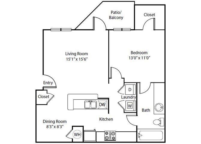 Primrose Floor Plan 1 Bedroom 1 Bath