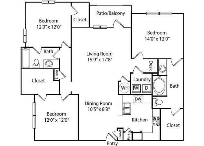 Springhill Floor Plan 3 Bedroom 2 Bath
