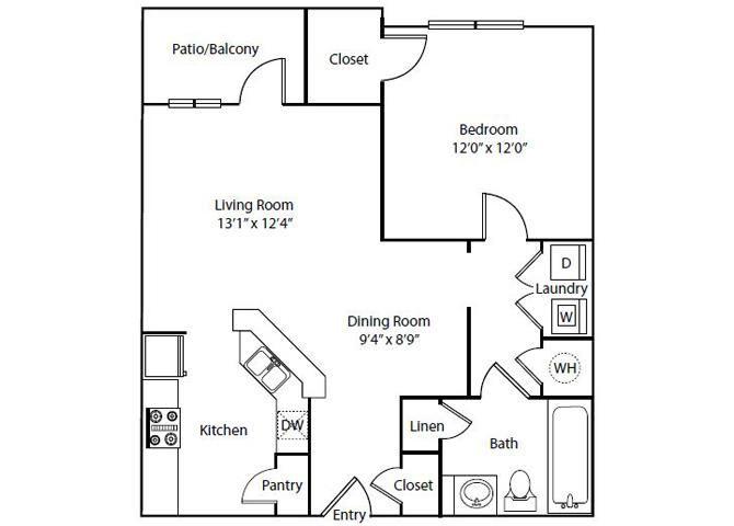 Tidewater Floor Plan 1 Bedroom 1 Bath