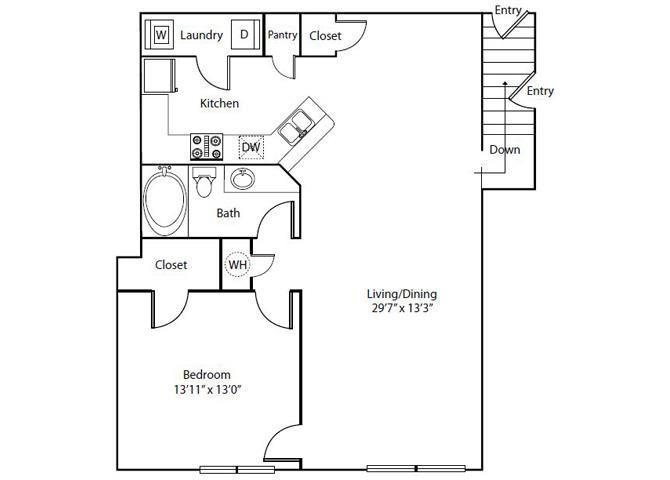 Wisteria Floor Plan 1 Bedroom 1 Bath