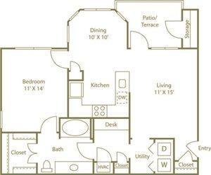 One Bedroom One Bathroom Floor Plan 800 Square Feet
