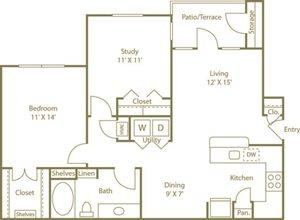 One Bedroom One Bathroom Floor Plan 894 Square Feet
