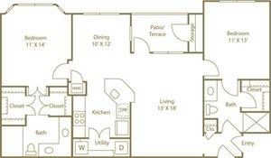Two Bedroom Two Bathroom Floor Plan 1,168 Square Feet