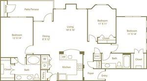 Three Bedroom Two Bathroom Floor Plan 1,427 Square Feet