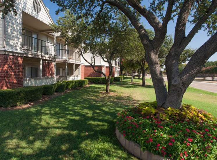 Apartment exterior with colorful flowers at the base of a tree, green grass, and blue skies in the background