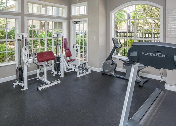 Fitness center with weight bench