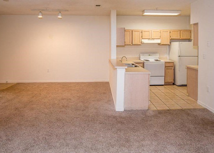 Carpeted Open Floor with Kitchen with Breakfast Bar Blonde Cabinets and White Appliances