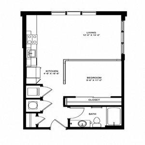 One bedroom one bathroom floor plan
