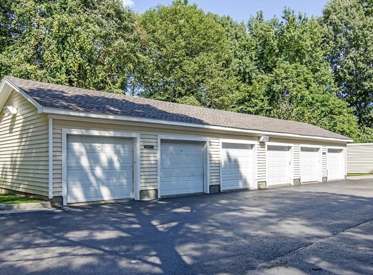 6 Garages in Parking Lot with Treeline in the Background