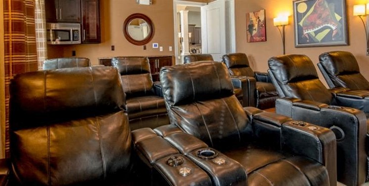 Leather Movie Theater Reclining Chairs with Decorations on the Walls in the Background