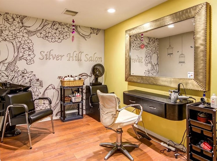 Silver Hill Community Beauty Salon with Mural on Wall Behind Salon Equipment Next to YEllow Wall with Mirror on itArboretum Apartments | Community Beauty Salon