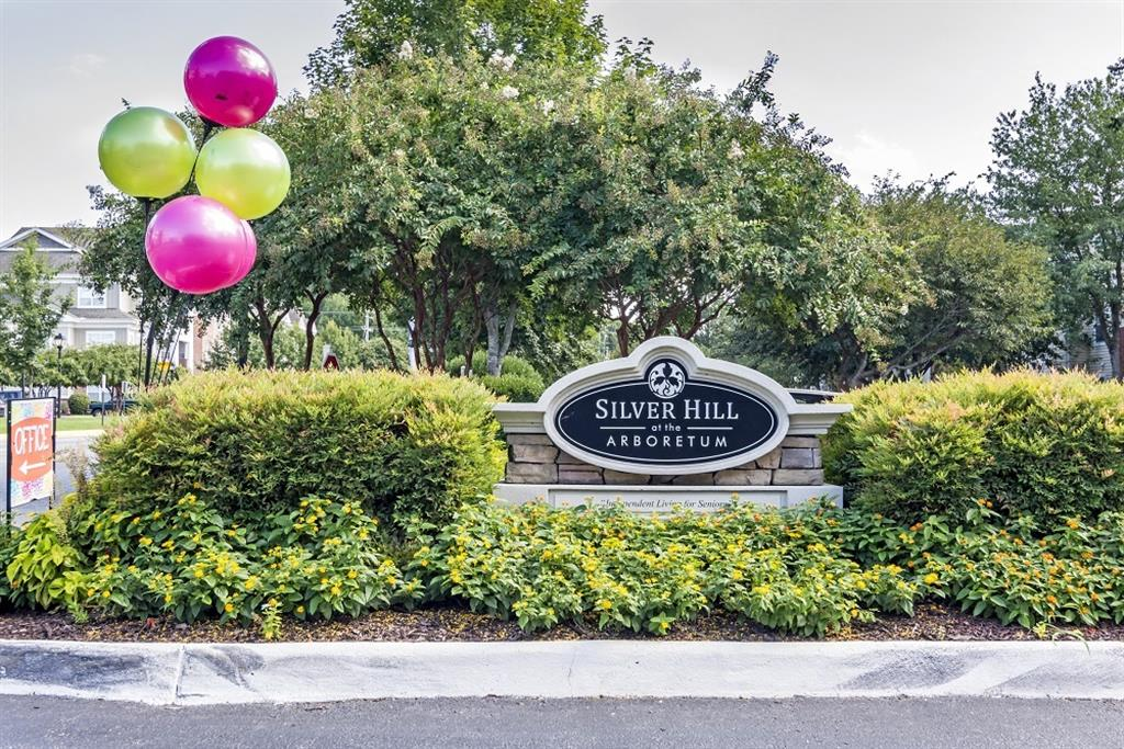 Community Entrance Sign on Parking Lot Median in Front of Tree Line with Shrubs and Multi Color Balloons