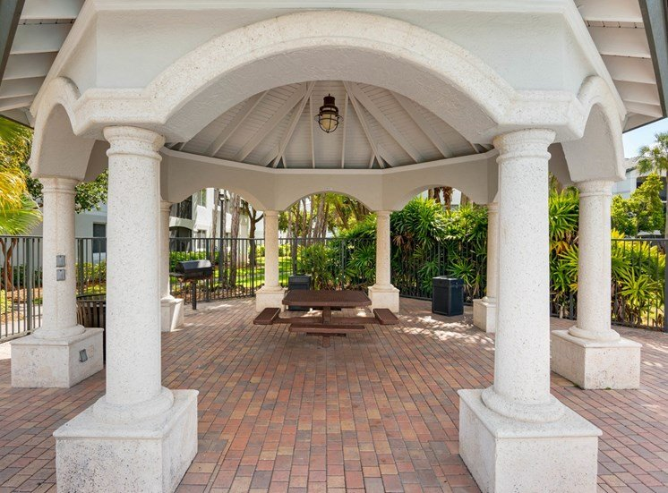 Stone Gazeebo  Over Brick Courtyard with Metal Picnic Table and Park Grills