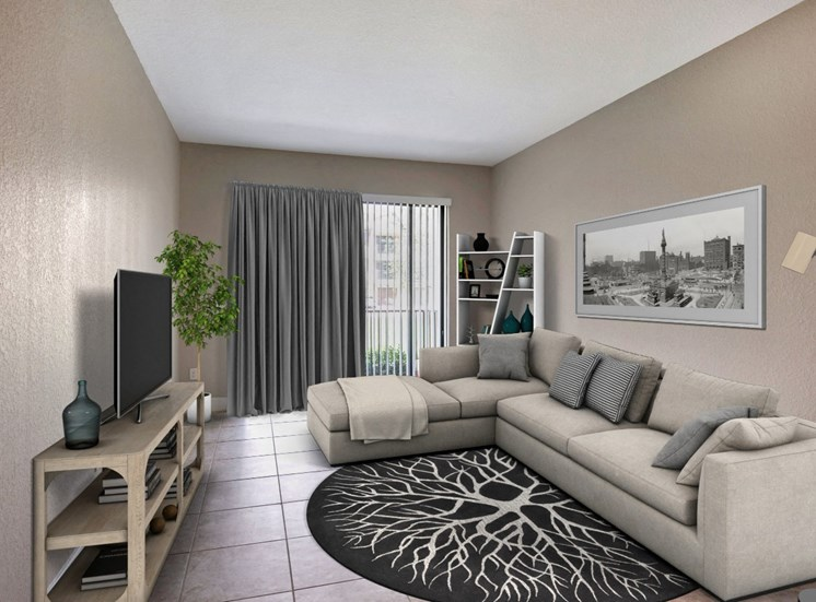 Park Aire Apartments | Spacious Living Room with Tile Flooring