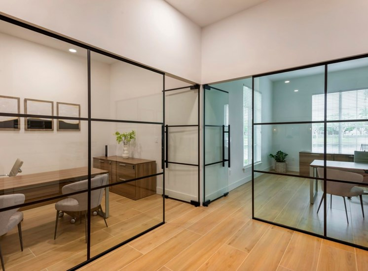 leasing offices with glass wall dividers.