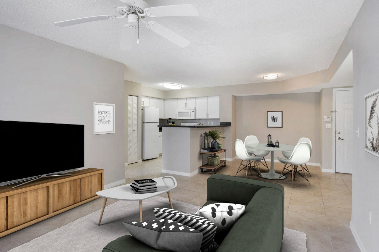 St. Andrews at Winston Park Apartments | Large Living Room with Tile Flooring