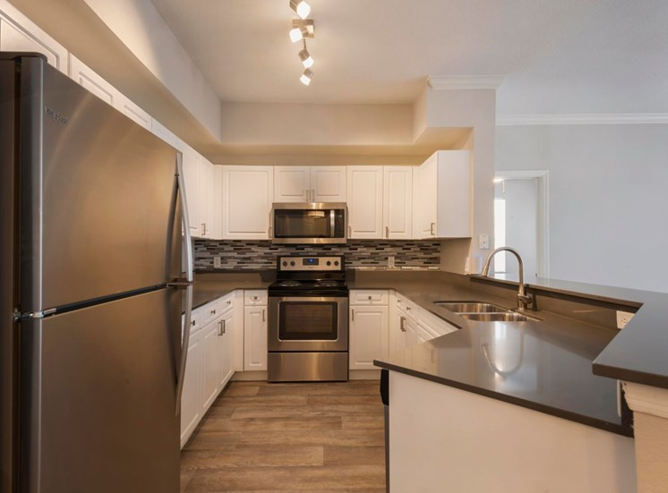 Fully Equipped Kitchen with Brushed Nickel Appliances, Black Counters and White Cabinets