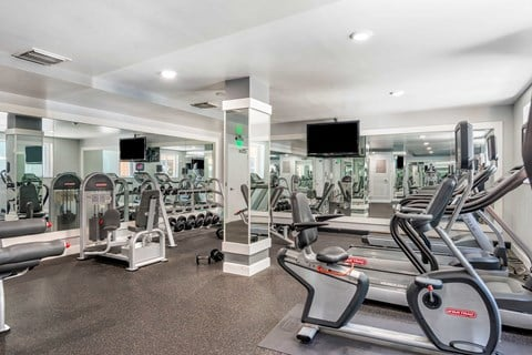 24-Hour Fitness Center with bike and treadmills