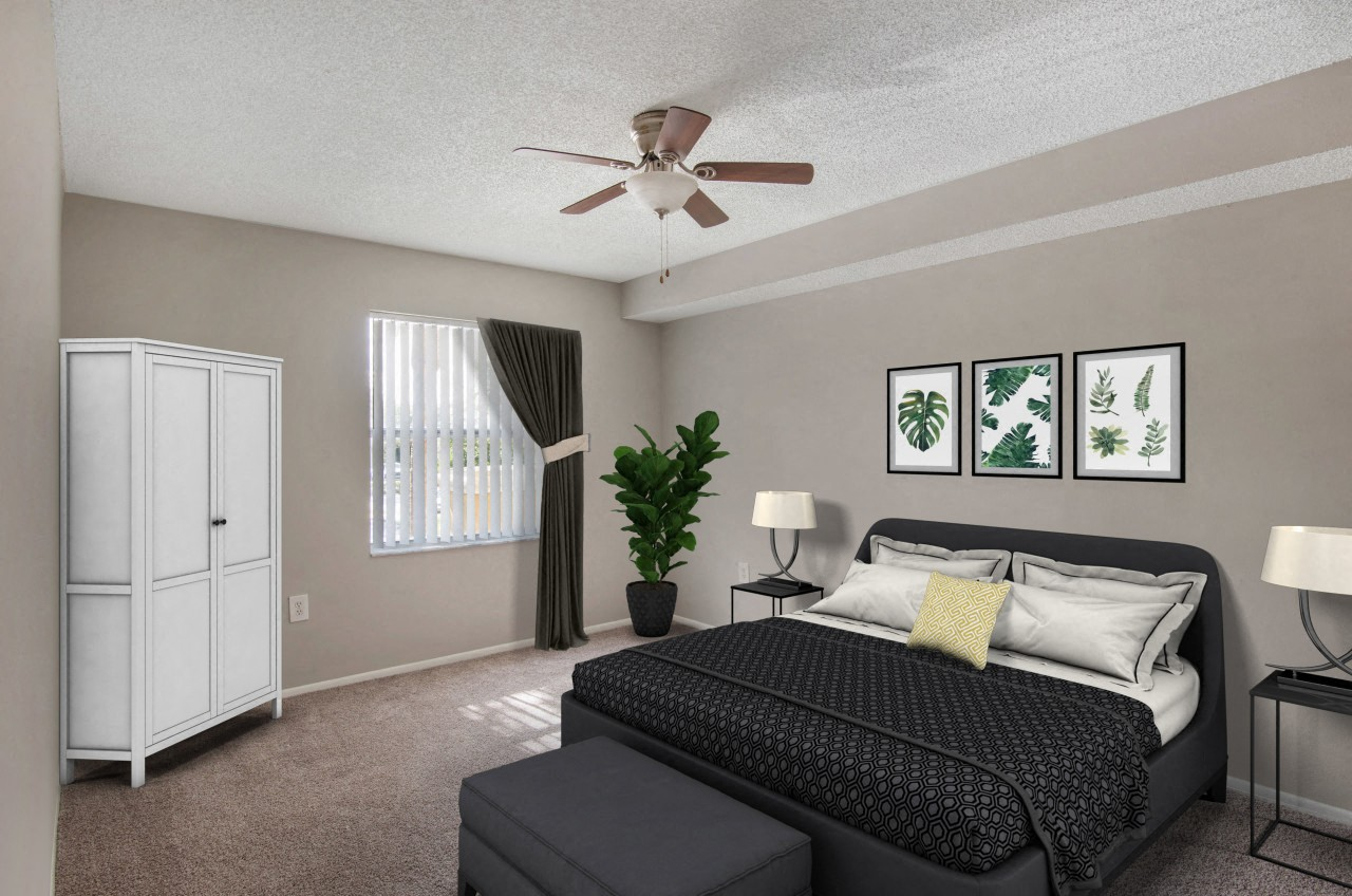 Virtual bedroom model with bed, end table, lamp, ceiling fan and wall art,Virtual bedroom model with bed, end table, lamp, ceiling fan and wall art