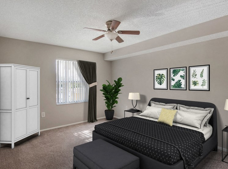 Virtual bedroom model with bed, end table, lamp, ceiling fan and wall art