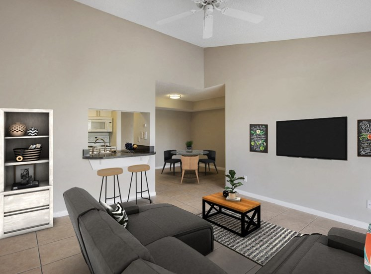 Tiled Living Room Connected to Kitchen and Breakfast Bar, Virtually Placed Couch, Coffee Table and Decorations
