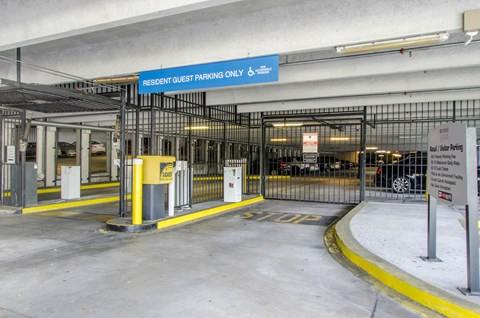 Covered Parking Garage and resident entrance