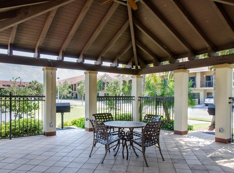 Gazebo with charcoal grill, table and four chairs