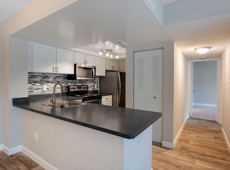 Fully Equipped Kitchen with Stainless Steel Appliances, White Cabinets, Black Counters and Glass Backsplash