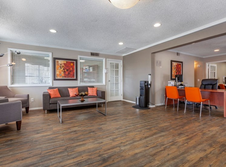 Leasing Office with Couch, Coffee Table and Leasing Desk with Chairs