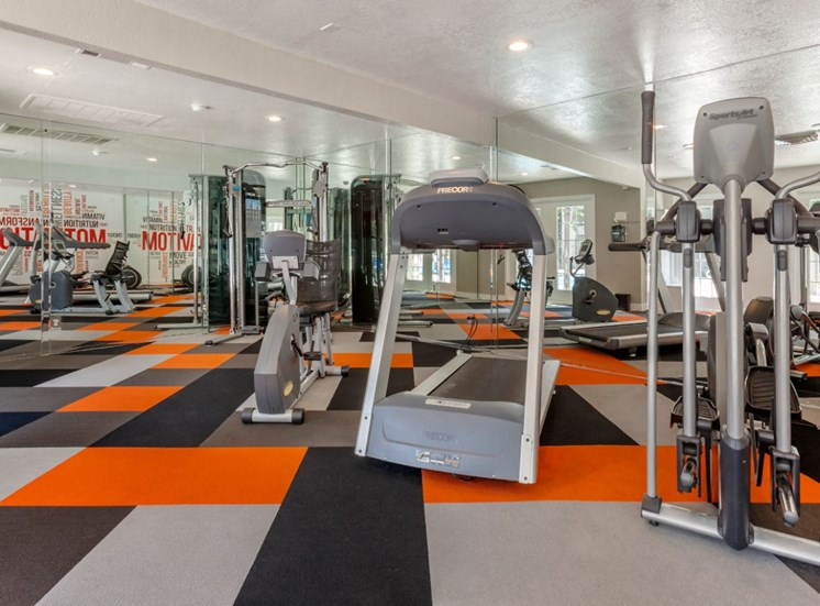 Colorful Fitness Center with Exercise Equipment