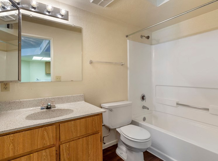 Bathroom with Wood Cabinets, Grey Counters and Shower with Bathtub