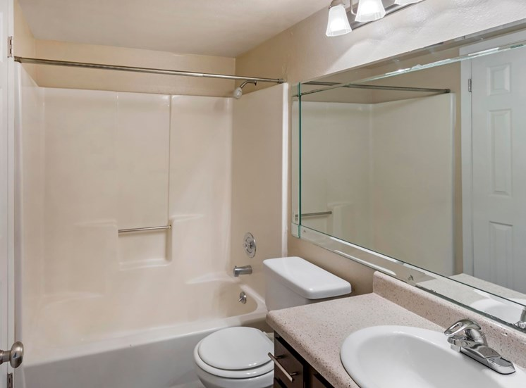 Bathroom with vanity lights and bathtub shower combo