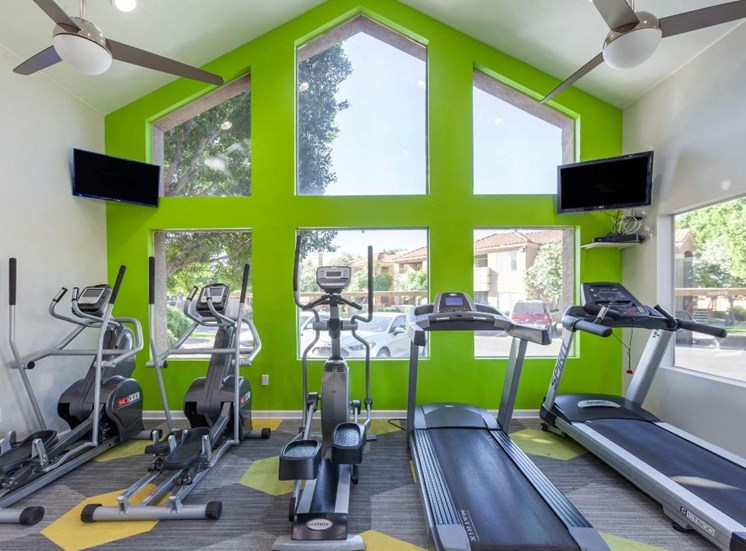 Bright Fitness Center with Windows on Green Accent Wall in Front of Exercise Equipment