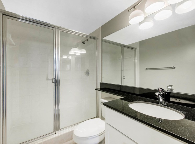 Bathroom with White Cabinets, Black Counters and Walk in Shower