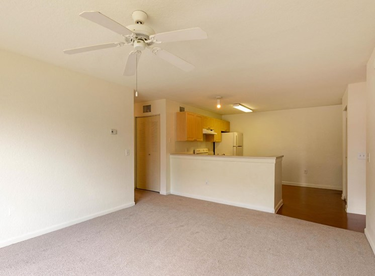 Carpeted living Room with Ceiling Fan and pass through bar to kitchen