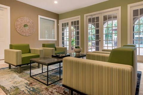 Clubhouse Seating Area with Green Chairs